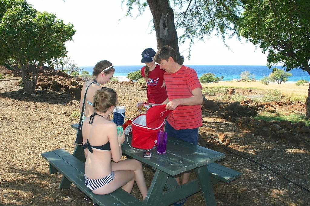 My family having a lunch picnic above Lapakahi.