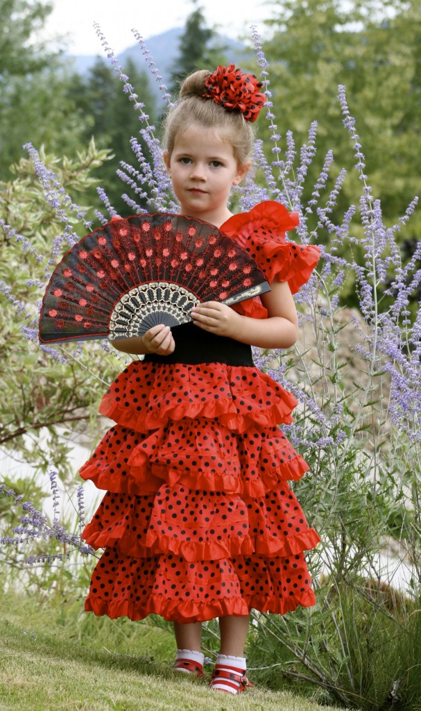 Pip, age 5. She's wearing a Flamenco costume I found on a trip to Barcelona.